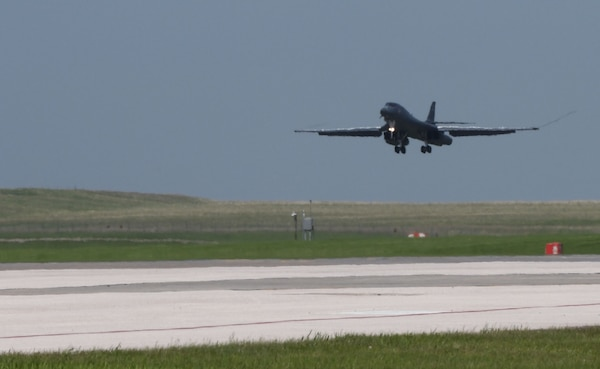 A 34th Bomb Squadron B-1B Lancer lands at Ellsworth Air Force Base, S.D., May 20, 2020, following their support of a Bomber Task Force mission to the U.S. European Command area of responsibility. These long-range, long-duration B-1 missions demonstrate the U.S. Air Force's global strike capacity and ability to deliver precision-guided ordnance against any adversary - anytime, anywhere. (U.S. Air Force photo by Airman 1st Class Christina Bennett)
