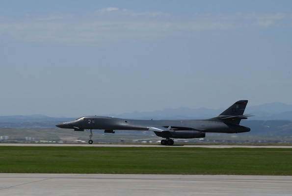 A 34th Bomb Squadron B-1B Lancer taxis down the runway after landing on Ellsworth Air Force Base, S.D., May 20, 2020.  This followed the completion of a long-range, long-duration Bomber Task Force mission to the U.S. European Command area of responsibility. BTF missions provide opportunities to work and train with U.S. allies and partners, while strengthening capabilities by familiarizing aircrew with air bases and operations in different parts of the world. (U.S. Air Force photo by Airman 1st Class Christina Bennett)