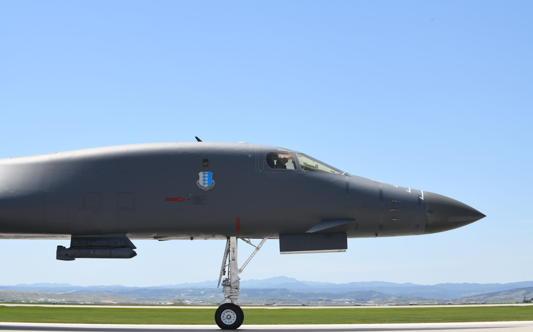 A 34th Bomb Squadron B-1B Lancer taxis on the flight line prior to takeoff from Ellsworth Air Force Base, S.D., May 19, 2020, in support of a Bomber Task Force mission to the U.S. European Command area of responsibility May 19, 2020. These long-range, long-duration B-1 missions demonstrate the U.S. Air Force's global strike capacity and ability to deliver precision-guided ordnance against any adversary - anytime, anywhere. (U.S. Air Force photo by Airman 1st Class Christina Bennett)
