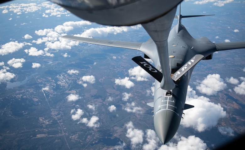 A B-1B Lancer from the 28th Bomb Wing, Ellsworth Air Force Base, South Dakota, receives fuel from a KC-135 Stratotanker from the 100th Air Refueling Wing, RAF Mildenhall, England, during a Bomber Task Force Europe mission over Sweden, May 20, 2020. The mission marked the first time B-1s have flown over Sweden to integrate with Swedish Gripens while conducting close-air support training with Swedish Joint Terminal Attack Controller ground teams at Vidsel Range. (U.S. Air Force photo by Tech. Sgt. Emerson Nuñez)