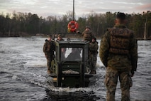 U.S. Marines with 8th Engineer Support Battalion, Bridge Company, participate in Type Commander's Amphibious Training (TCAT) on Camp Lejeune, North Carolina, March 16, 2020. TCAT is a mobility exercise ashore that allows Marines to gain the requisite skills and experience to integrate with the U.S. Navy in follow on exercises and real-world operations. (U.S. Marine Corps photo by Lance Cpl. Zachary Zephir)