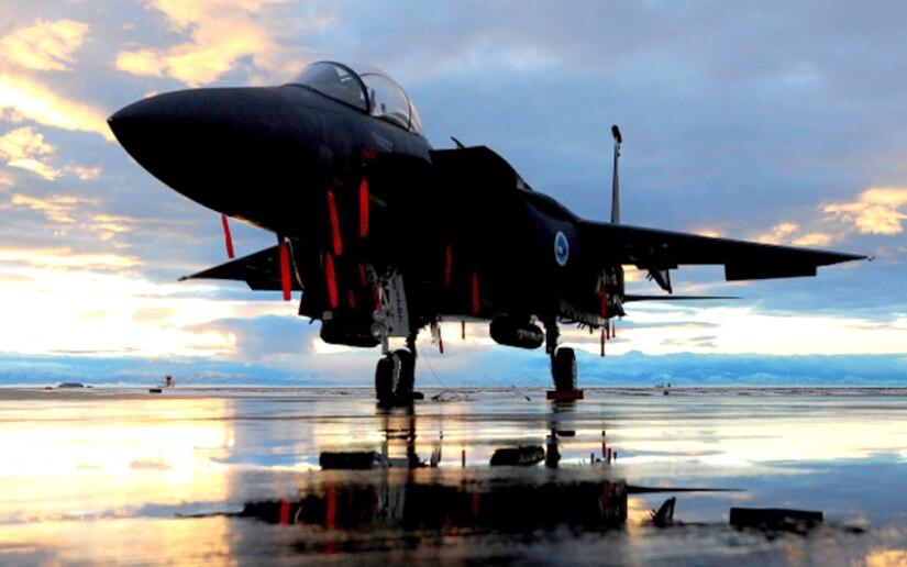 A Royal Saudi Air Force converted F-15SA fighter sits on the runway.