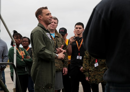 Maj. Joshua Rystrom, a naval aviator with Marine Fighter Attack Squadron 115, speaks to attendees of the Educators Workshop at Marine Corps Air Station Beaufort, South Carolina, Feb. 27, 2019. These educators traveled from Recruiting Station  Baton Rouge, Charlotte and Montgomery to experience the Educators Workshop. The workshop allows educators to have an inside look at educational benefits and career opportunities in the Marine Corps. (U.S. Marine Corps photo by Lance Cpl. Jack A. E. Rigsby)