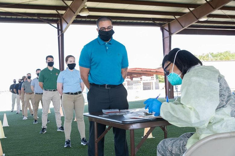 Officer Training School conducts COVID-19 testing May 19, 2020, during in-processing of class 20-06. (U.S. Air Force photo by Trey Ward)