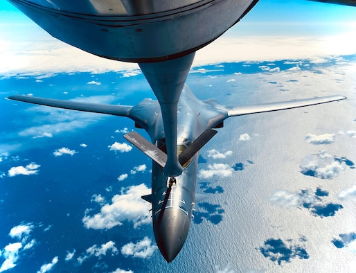 A B-1B Lancer from the 28th Bomb Wing, Ellsworth Air Force Base, South Dakota, receives fuel from a KC-135 Stratotanker from the 100th Air Refueling Wing, RAF Mildenhall, England, during a training mission for Bomber Task Force Europe over England, May 11, 2020. Bomber Task Force missions are intended to demonstrate U.S. commitment to the collective defense of the NATO alliance and are a visible demonstration of the U.S. capability of extended deterrence. (U.S. Air Force photo by Staff Sgt. Kelly O'Connor)