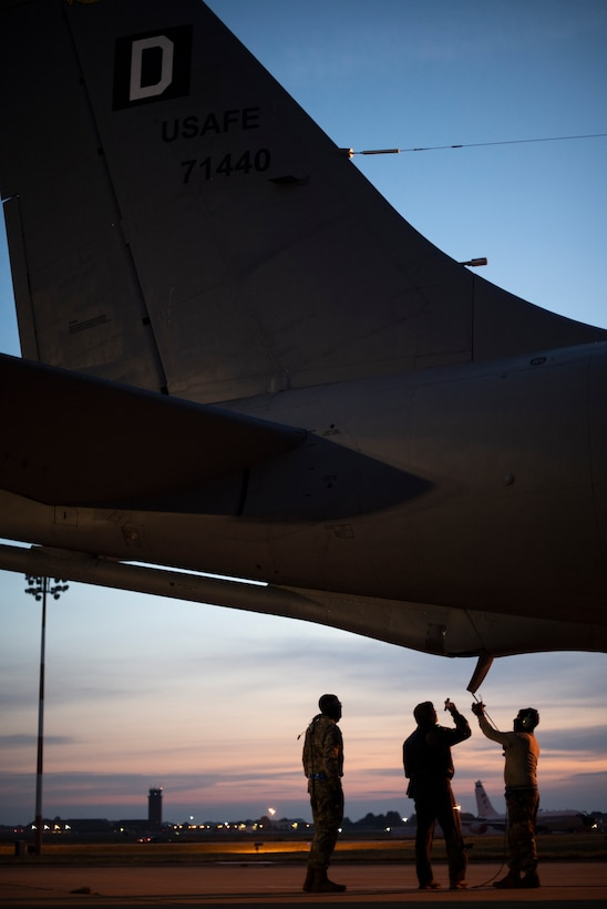 Airmen from the 351st Air Refueling Squadron and 100th Aircraft Maintenance Squadron inspect a KC-135 Stratotanker prior to a flight supporting Bomber Task Force Europe, at RAF Mildenhall, England, May 20, 2020. The mission marked the first time B-1s have flown over Sweden to integrate with Swedish Gripens while conducting close-air support training with Swedish Joint Terminal Attack Controller ground teams at Vidsel Range. (U.S. Air Force photo by Tech. Sgt. Emerson Nuñez)