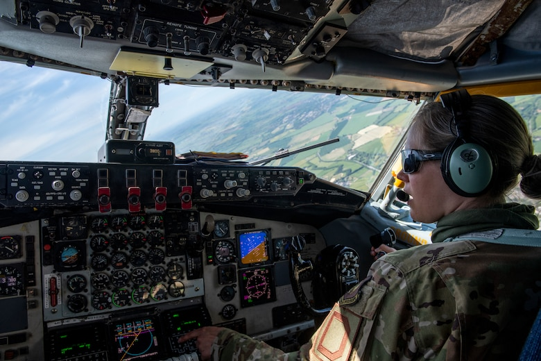 Captain Megan Bowman, 351st Air Refueling Squadron pilot, flies a KC-135 Stratotanker over England after supporting a Bomber Task Force Europe mission, April 23, 2020. The mission marked the first time B-1s have flown over Sweden to integrate with Swedish Gripens while conducting close-air support training with Swedish Joint Terminal Attack Controller ground teams at Vidsel Range. (U.S. Air Force photo by Tech. Sgt. Emerson Nuñez)