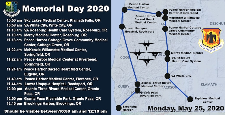 memorial day flyover route