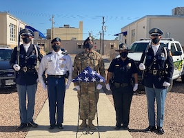 A color guard formation made up of Fort Bliss military security forces members and El Paso area civilian police officers during the 2020 Peace Officers Memorial Day event. (Courtesy photo)