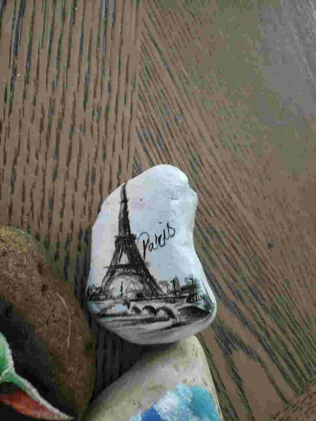A stone decorated by Outdoor Recreation Manager Nathalie Rider may inspire the person who finds it in the Kindness Rock Scavenger Hunt to think of a better time and place. Hunt participants are encouraged to decorate rocks they can leave along popular trails to inspire those who find them.