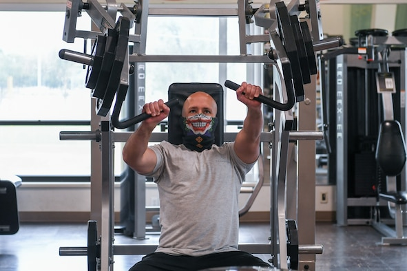 Master Sgt. Allen Daley, 729th Air Control Squadron, uses a weight machine May 20, 2020 at the Warrior Fitness and Wellness Center located at Hill Air Force Base, Utah.