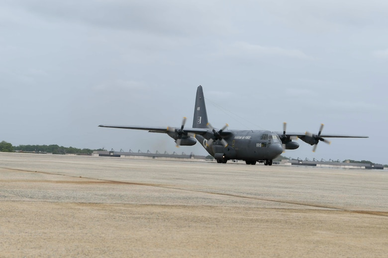 A Pakistan air force C-130 aircraft arrives at Joint Base Andrews, Md., May 21, 2020. The aircraft brought 100,000 protective masks and 25,000 coveralls for the Federal Emergency Management Agency in response to COVID-19. (U.S. Air Force photo by Airman 1st Class Spencer Slocum)
