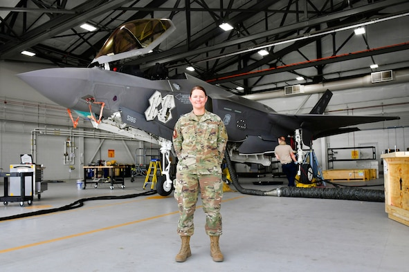 A photo of Capt. Dayna Grant, officer in charge of the 4th Aircraft Maintenance Unit and winner of the Air Force's Leo Marquez award as Company Grade Officer.