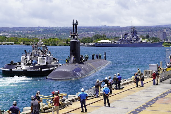 PEARL HARBOR, Hawaii (May 10, 2020) – USS Missouri (SSN 780), a Virginia-class fast-attack submarine, departs Pearl Harbor Naval Shipyard and Intermediate Maintenance Facility piers to begin sea trials on May 10. Missouri's routine maintenance and modernization work was completed five days ahead of schedule after successful sea trials and certification. The submarine's recent availability required 2.2 million work-hours to complete more than 20,000 jobs that will ensure the ship remains fully operational for its planned 33-year service life.