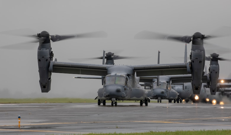 CV-22 Ospreys assigned to the 21st Special Operations Squadron taxi on the runway at Yokota Air Base, Japan, May 21, 2020, during the Samura Surge training exercise.