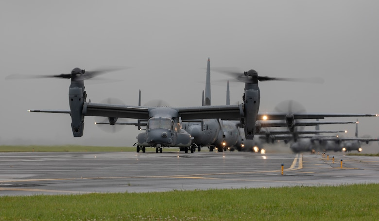 A CV-22 Osprey assigned to the 21st Special Operations Squadron taxis on the runway at Yokota Air Base, Japan, May 21, 2020, during the Samura Surge training exercise.