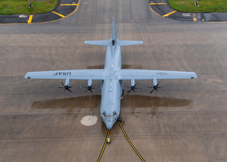 A C-130J Super Hercules, assigned to the 36th Airlift Squadron, is prepared to participate in a Samurai Surge, May 21, 2020, at Yokota Air Base, Japan.