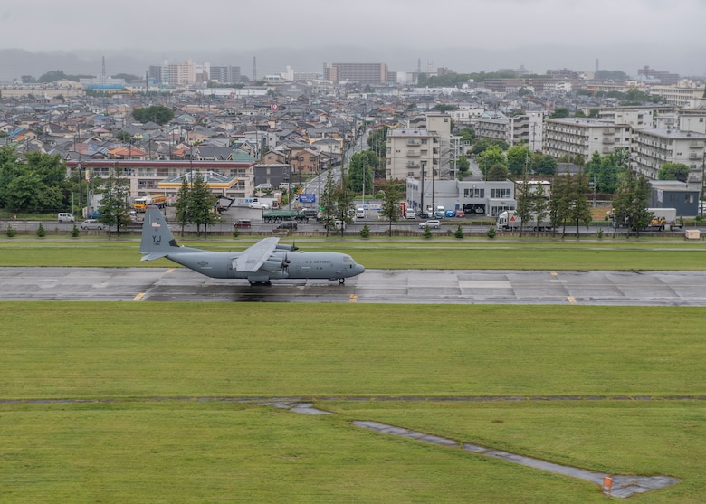 A C-130J Super Hercules, assigned to the 36th Airlift Squadron, taxis across the Yokota Air Base, Japan, flightline during the elephant walk portion of the Samurai Surge training exercise, May 21, 2020.