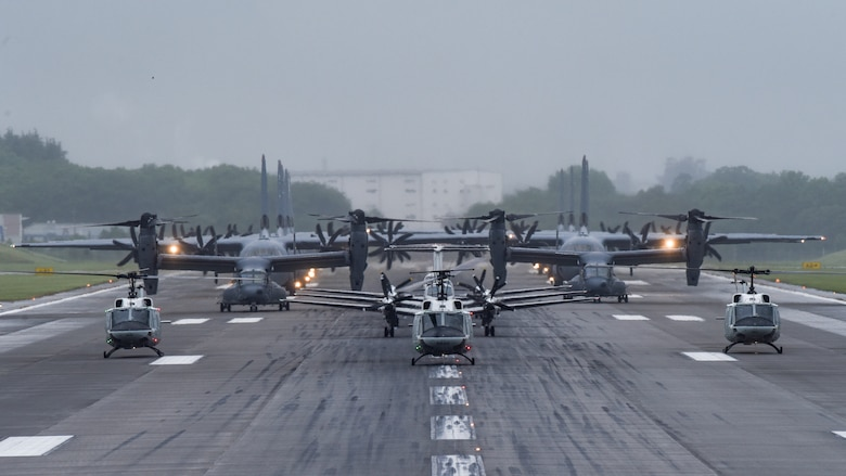 Aircraft from the 36th Airlift Squadron, 459th Airlift Squadron and 21st Special Operations Squadron participate in the elephant walk portion of the Samurai Surge training exercise, May 21, 2020, at Yokota Air Base, Japan.