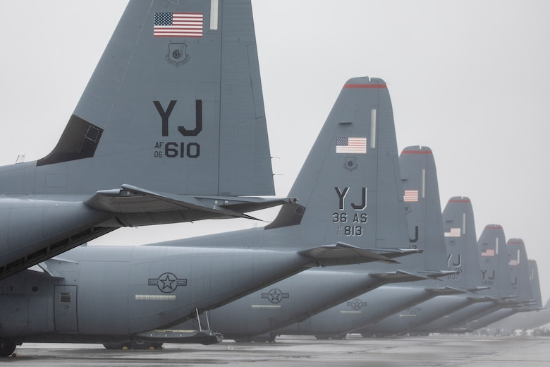 Seven C-130J Super Hercules assigned to the 36th Airlift Squadron wait on the flightline during the Samurai Surge training exercise at Yokota Air Base, Japan, May 21, 2020.