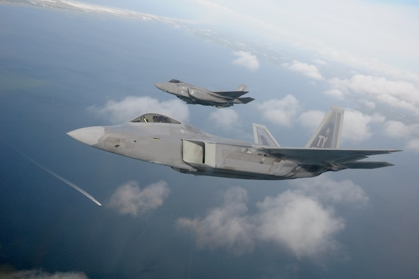 F-22, F-35 fly over Emerald Coast