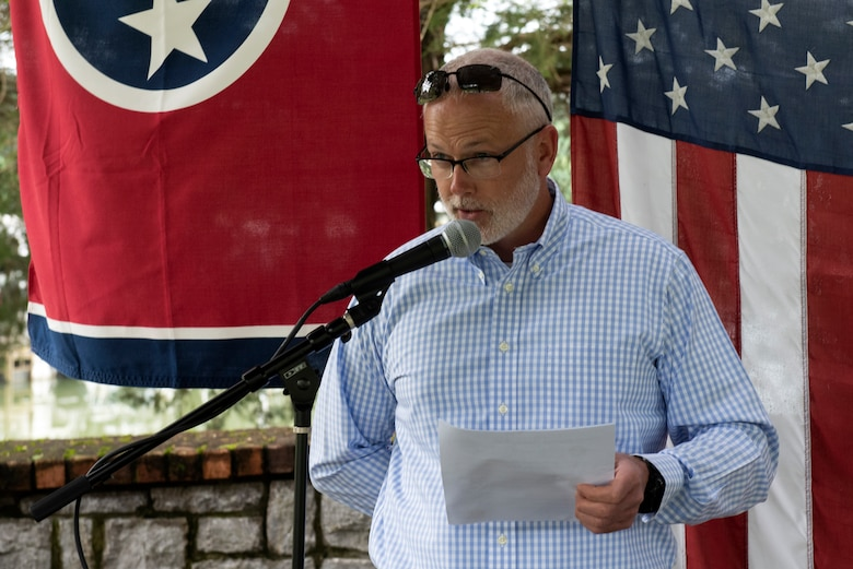 """Jamie Summers, U.S. Army Corps of Engineers Nashville District's Cordell Hull Lake resource manager, welcomes guests and makes opening remarks during a """"Clean Marina"""" dedication May 21, 2020 at Wildwood Resort & Marina in Granville, Tennessee.  The event recognized the marina's voluntary efforts to reduce water pollution and erosion in the Cumberland River watershed, and for promoting environmentally responsible marina and boating practices. (USACE photo by Lee Roberts)"""