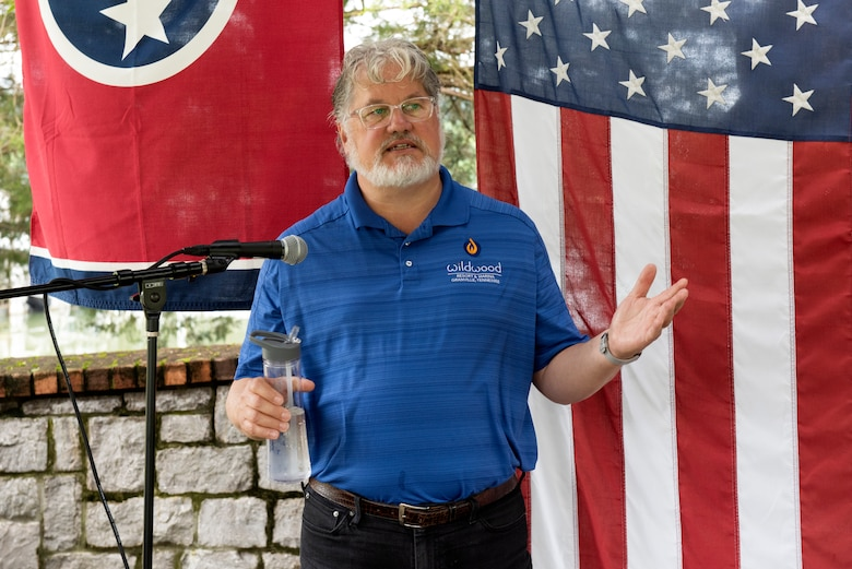 """John Deane, co-owner of Wildwood Resort & Marina, talks about the journey and improvements that have taken place as the resort achieve """"Clean Marina"""" status during a dedication May 21, 2020 at the resort located at Cordell Hull Lake in Granville, Tennessee.  The event recognized the marina's voluntary efforts to reduce water pollution and erosion in the Cumberland River watershed, and for promoting environmentally responsible marina and boating practices. The U.S. Army Corps of Engineers Nashville District required the owners to sign a pledge card committing to the ideals of controlling pollution and erosion.  Then the facility completed a clean marina checklist and developed an action plan to meet their goals. (USACE photo by Lee Roberts)"""