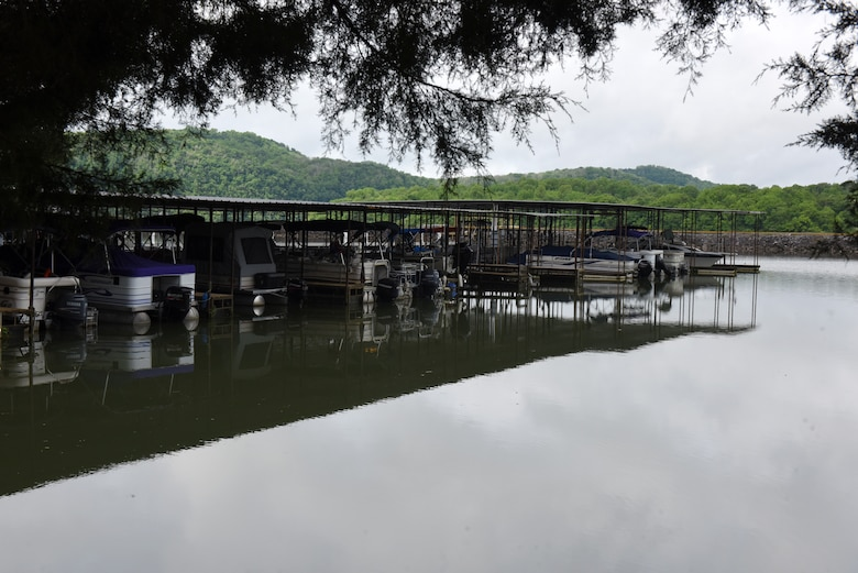 """Wildwood Resort & Marina officially achieved """"Clean Marina"""" status May 21, 2020. The resort is located at Cordell Hull Lake in Granville, Tennessee. It is the first marina at Cordell Hull Lake to hoist the """"Clean Marina"""" flag, a symbol of the marina's commitment to safeguarding the environment. (USACE photo by Lee Roberts)"""