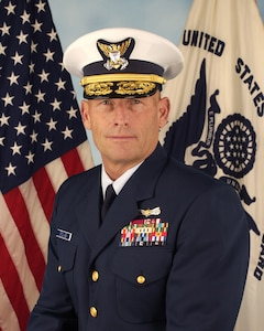 A portrait photograph of Vice Admiral William Lee, USCG