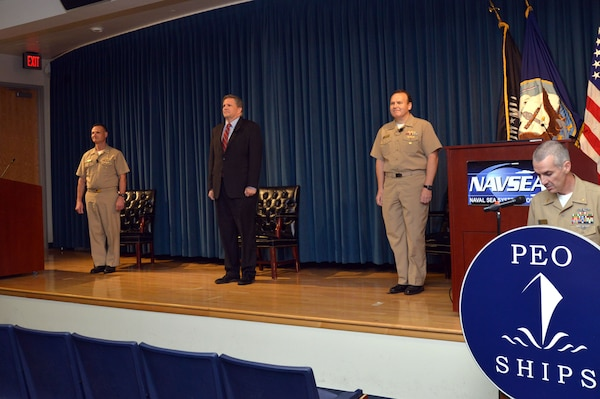 Rear Adm. Tom Anderson relieved Rear Adm. Bill Galinis as Program Executive Officer, Ships at the Washington Navy Yard May 22.