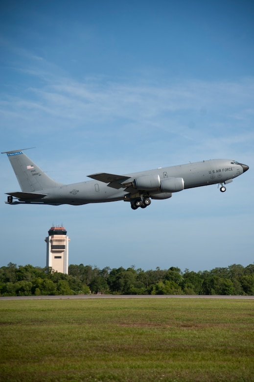 A KC-135 Stratotanker takes off from MacDill Air Force Base, Fla., May 15, 2020.