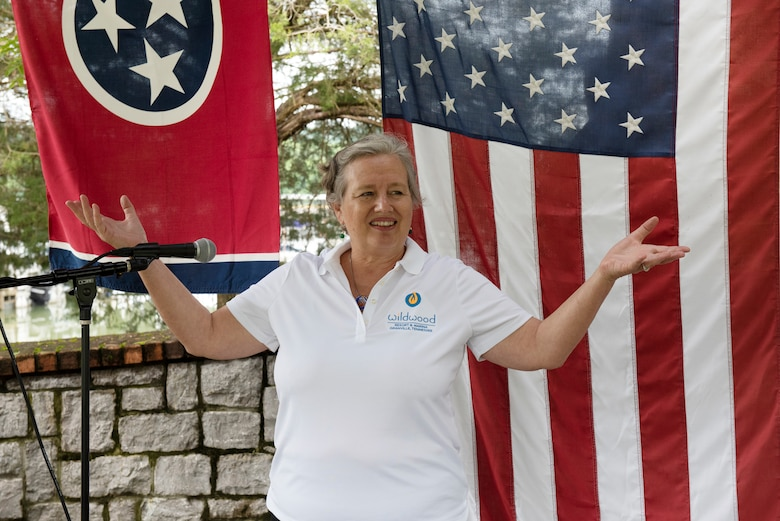 "Natasha Deane, co-owner of Wildwood Resort & Marina, thanked her employees for their efforts to achieve ""Clean Marina"" status during a dedication May 21, 2020 at the resort locate at Cordell Hull Lake in Granville, Tennessee.  The event recognized the marina's voluntary efforts to reduce water pollution and erosion in the Cumberland River watershed, and for promoting environmentally responsible marina and boating practices. The U.S. Army Corps of Engineers Nashville District required the owners to sign a pledge card committing to the ideals of controlling pollution and erosion.  Then the facility completed a clean marina checklist and developed an action plan to meet their goals. (USACE photo by Lee Roberts)"