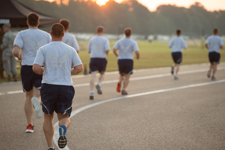 Officer Training School trainees run during an official Air Force Physical Training test on Aug. 8, 2019, at Maxwell Air Force Base, Ala. USAF photo by Airman 1st Class Charles Welty