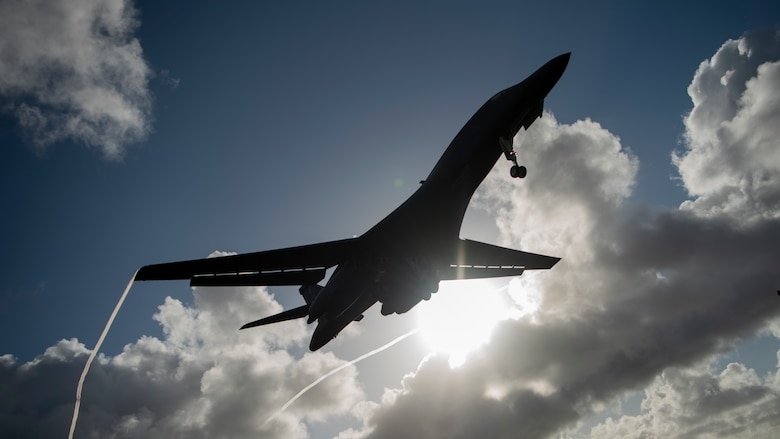 A 9th Expeditionary Bomb Squadron B-1B Lancer prepares to land at Andersen Air Force Base, Guam, May 22, 2020. This B-1B aircrew completed a 24-hour mission that included a large force exercise. The 9th EBS is deployed to Andersen Air Force Base, Guam, as part of a Bomber Task Force supporting Pacific Air Forces' strategic deterrence missions and  commitment to the security and stability of the Indo-Pacific region. (U.S. Air Force photo by Senior Airman River Bruce)