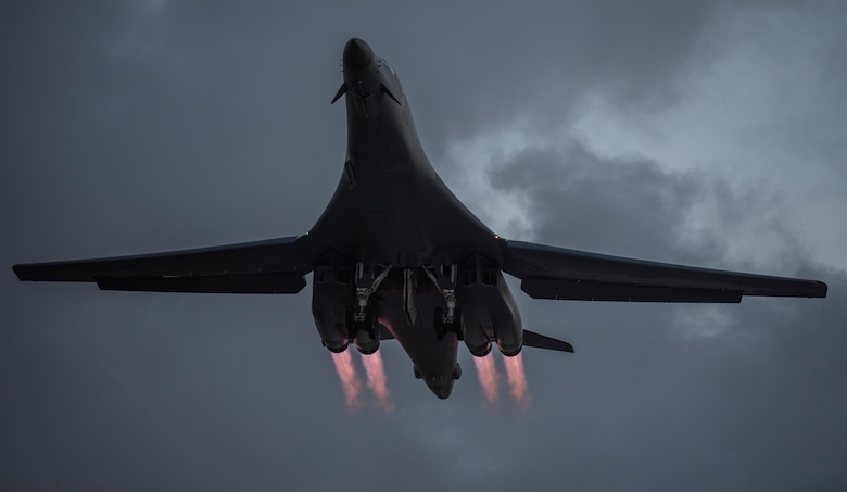 A 9th Expeditionary Bomb Squadron B-1B Lancer takes off from Andersen Air Force Base, Guam, May 21, 2020. In continued demonstration of the U.S. Air Force's dynamic force employment model, two U.S. Air Force B-1B Lancers flew from Andersen AFB and conducted training in Alaska and near Misawa Air Base, Japan.  The 9th EBS, and other units assigned to the 7th Bomb Wing of Dyess Air Force Base, Texas, are deployed to Guam as part of a Bomber Task Force. BTFs contribute to joint force lethality, assure allies and partners, and deter aggression in the Indo-Pacific. (U.S. Air Force photo by Senior Airman River Bruce)