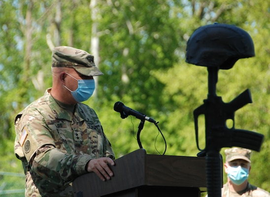Army Maj. Gen. Ray Shields, the Adjutant General for the New York National Guard, holds a Memorial Day weekend remembrance ceremony to honor fallen members of the New York Army and Air National Guard at the Joint Forces Headquarters in Latham, N.Y., May 22, 2020.