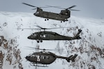 From top, A Colorado Army National Guard CH-47 Chinook, UH-60 Black hawk, and LUH-72 Lakota hover in formation over snow covered Colorado Rocky Mountains, Jan. 18, 2017 These airframes are in use by the High Altitude Army National Guard Aviation Training Site, Gypsum, Colorado and the Army Aviation Support Facility, Buckley Air Force Base, Aurora, Colorado to train rotary wing pilots from around the world about power management at high altitude, and to support the community, state and nation with heavy lift, medical evacuation and search and rescue operation capabilities, to name a few. (Photo by Frank Crebas, Bluelife Aviation)