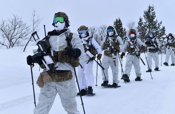 US Air Force Special Tactics operators assigned to the 352nd Special Operations Wing step out for movement during a simulated contact patrol, 5 March 2020, near Banak Air Base, Norway. The special tactics training event included the movement to contact, and hasty ambush-based training scenarios. The 352nd SOW deployed to Norway at the invitation of Norwegian forces in order to enhance war-fighter capabilities in challenging arctic and mountainous terrain within special operations forces and conventional forces and operations.