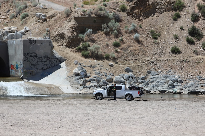Unauthorized vehicle at the Corps Mojave River Dam's outlet May 17.