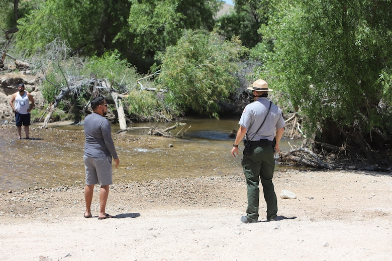 Nick Figueroa, a park ranger with the Corps Los Angeles District warns recreators that they are not allowed in the basin and that they are on federal property and is restricted to authorized motor vehicles and personnel.