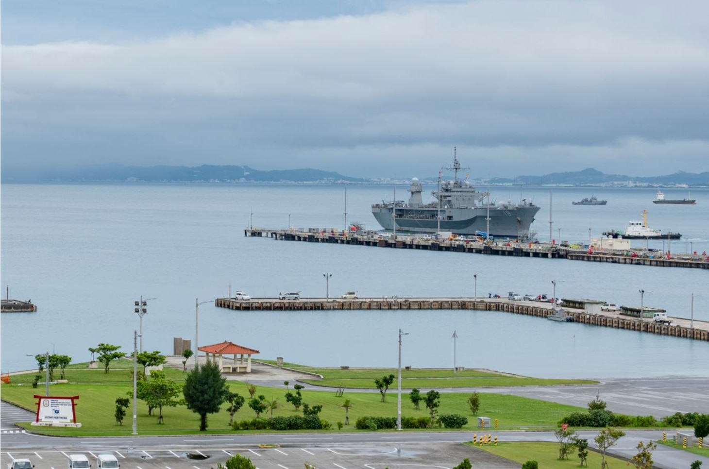 OKINAWA, Japan (May 24, 2020) - U.S. 7th Fleet flagship USS Blue Ridge (LCC 19) arrives in White Beach Naval Facility in Okinawa, Japan. Blue Ridge is the oldest operational ship in the Navy and, as 7th Fleet command ship, actively works to foster relationships with allies and partners in the Indo-Pacific region.