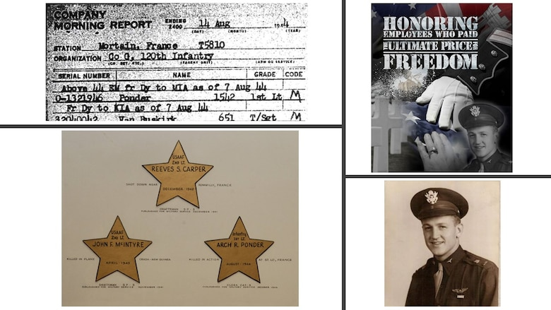 IN THE PHOTO, clockwise from top left, Company Morning Report, containing news of 1st Lt. Ponder's death; illustration by Vance Harris honoring Carper, McIntyre and Ponder; picture of 2nd Lt. John F. McIntyre; and a plaque by Memphis District employees honoring their co-worker's service and sacrifice.