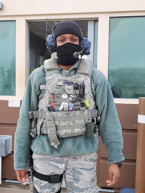 Airman 1st Class I'Munique Green serves as a vehicle search area member with the 72nd Security Forces Squadron.
