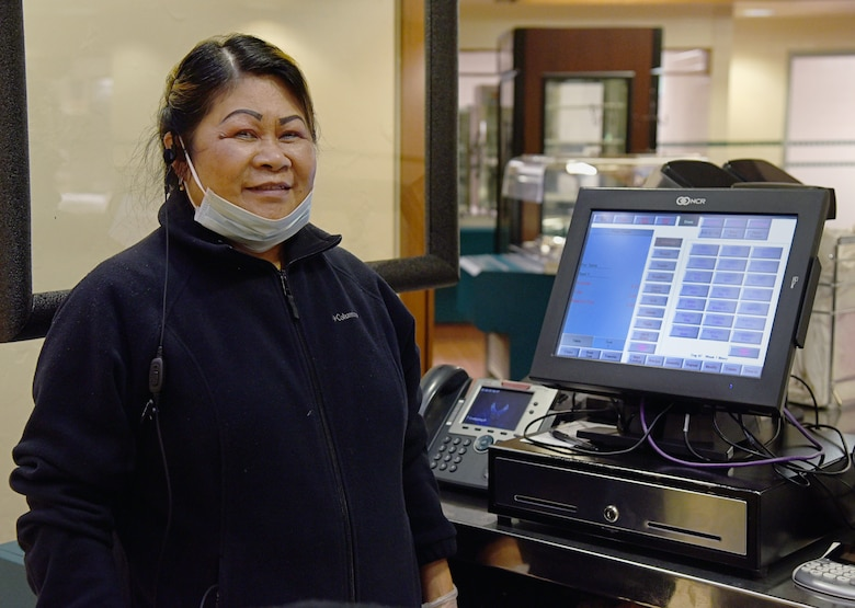 Angie Gronlund serves as a cashier at the Vanwey Dining Facility.