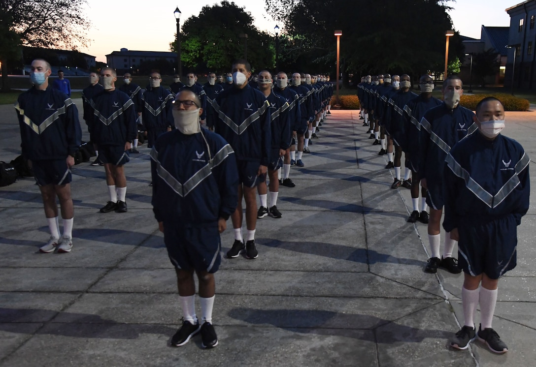 Airmen stand in formation