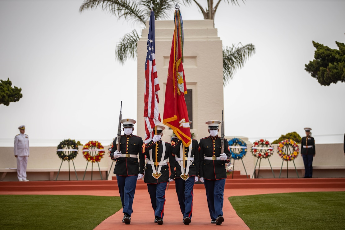 The Marine Corps Recruit Depot, San Diego Color guard participates in an annual Memorial Day Ceremony at Fort Rosecrans National Cemetery, May 25.