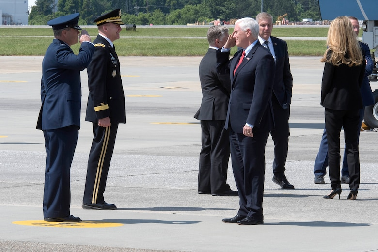 Col. Craig McPike, 94th Airlift Wing commander, salutes Vice President Michael Pence, as the vice president makes his way off Air Force Two and into  a vehicle in the motorcade at Dobbins Air Reserve Base, Ga. on May 22, 2020. Air Force Two landed here around noon, where the vice president was greeted by Georgia Governor Brian Kemp and his wife, Marty; Reps. Doug Collins, Barry Loudermilk and Drew Ferguson; Maj. Gen. Thomas Carden, The Adjutant General of the Georgia Department of Defense; and Col. Craig McPike, 94th Airlift Wing commander. (U.S. Air Force photo/Andrew Park)