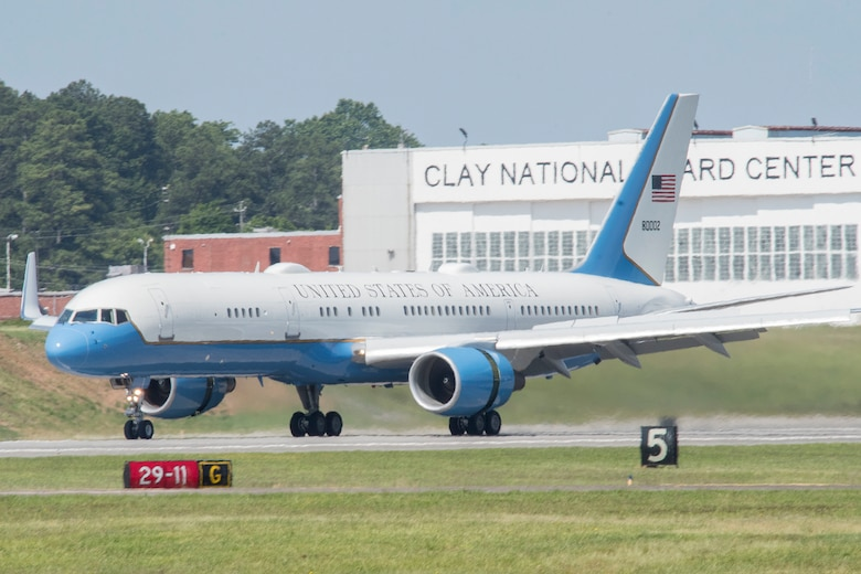 Air Force Two lands at Dobbins Air Reserve Base, Ga. on May 22, 2020. Vice President Mike Pence stopped briefly at Dobbins before heading to a series of meetings in metro Atlanta. (U.S. Air Force photo/Andrew Park)