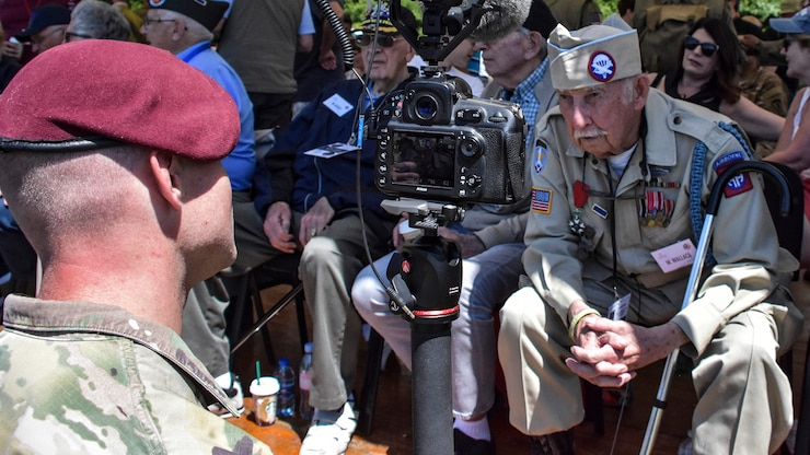 WWII Veteran at a ceremony in Sainte-Mère-Église, France