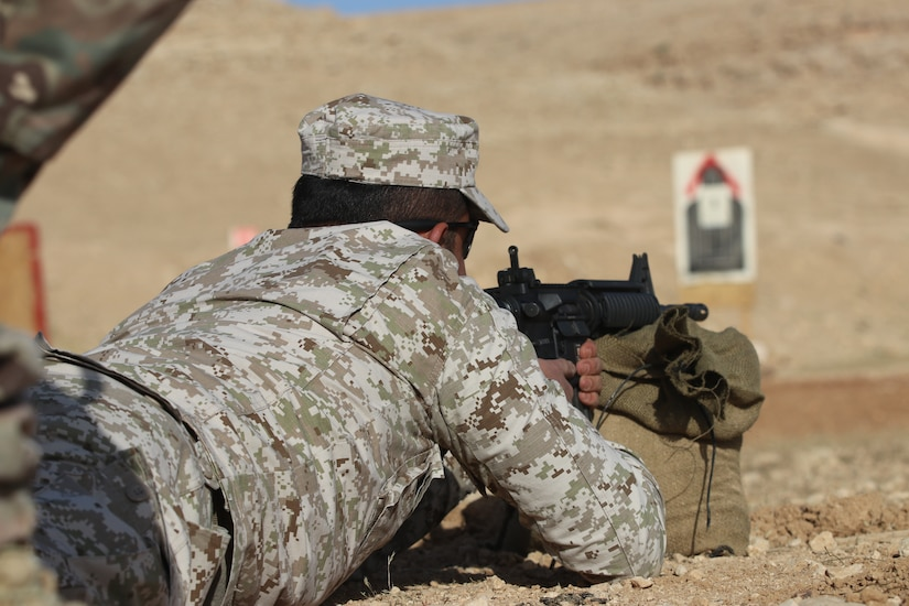 A Jordan Armed Forces Soldier fires on an M4 range during a recent Jordan Operational Engagement Program (JOEP) training cycle with the U.S. Army. The U.S. Army is in Jordan to partner closely with the Jordan Armed Forces in meeting common security challenges. Jordan is one of the United States' closest allies in the region.
